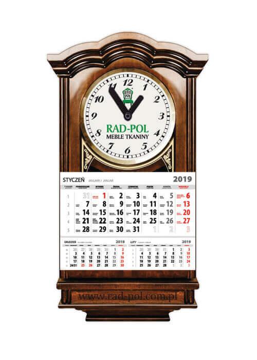 Kalendarz jednodzielny na kaszerowanych (tektura oklejana wydrukowaną grafiką) pleckach, z zegarem i indywidualną kopertą z zadrukiem.