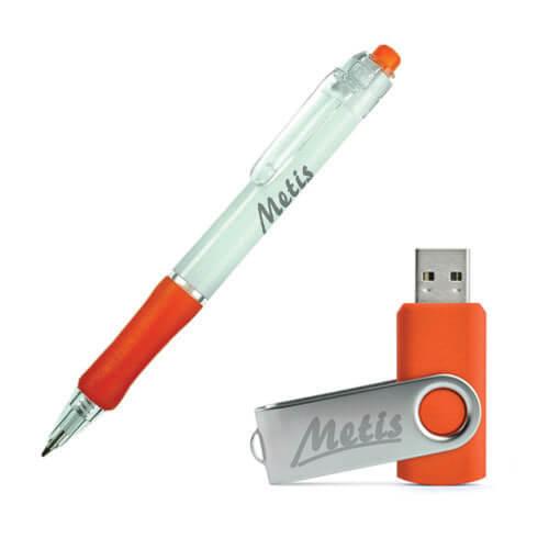 Pendrive, długopisy, wszystkie gadżety znakowane logiem.