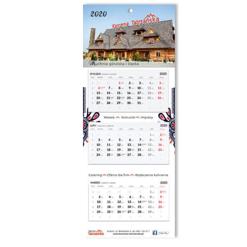 Kalendarz trójdzielny indywidualny z kopertą.