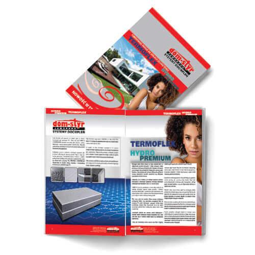 Katalog A4, okładka drukowana ze srebrnym pantone, papier  300g kreda mat, szyty.